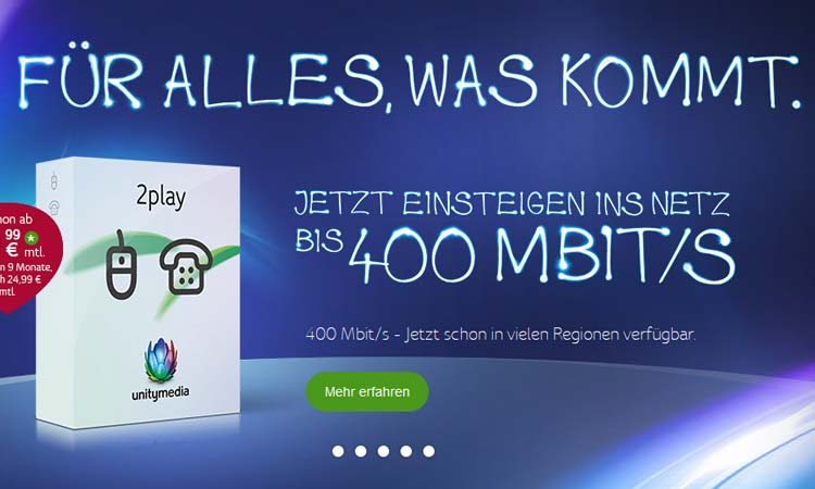 Highspeed-Internet: Unitymedia ab sofort mit 400 Mbit ...