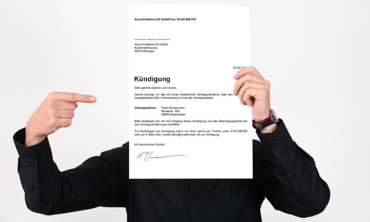 kndigung des dsl vertrags - Kabel Deutschland Kundigung Muster