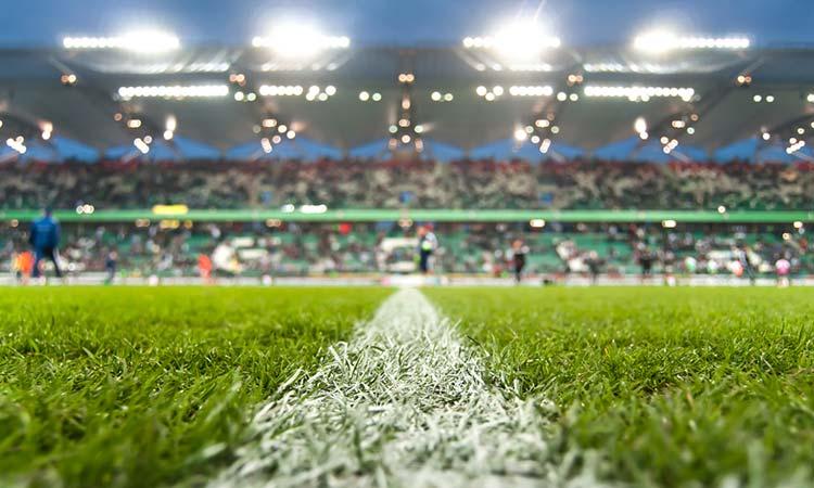 Fußball Stadion Mittellinie