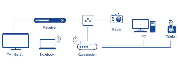 Schema Anschlussmöglichkeiten Kabeldose