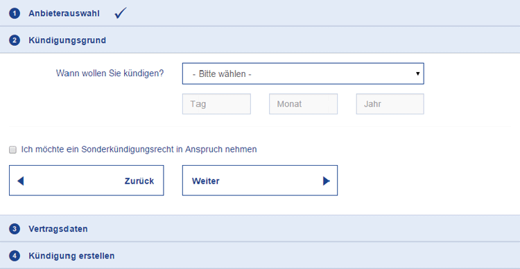 Screenshot: DSLWEB Kündigungs-Assistent