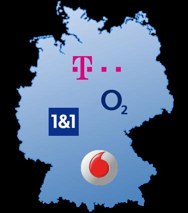 Deutschlandkarte - DSL Verfügbarkeit der großen DSL Anbieter
