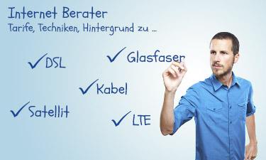 Internetberater - Wie funktioniert Internet über DSL, Kabel, Glasfaser, LTE und Sat?