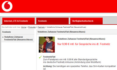 Shopansicht Vodafone Zuhause FestnetzFlat