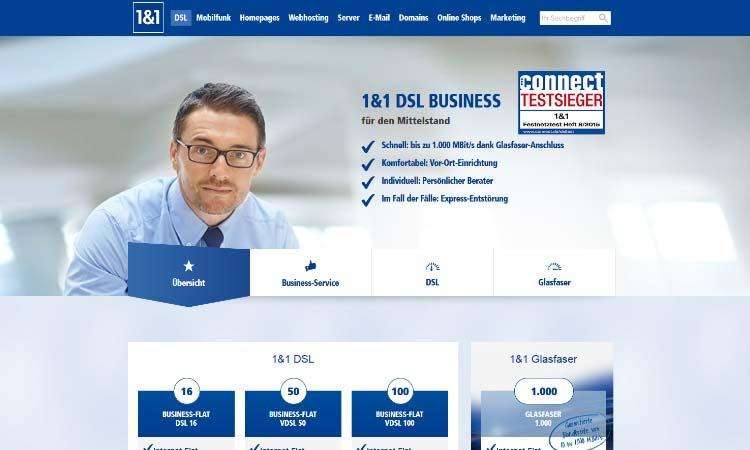 1&1 Business Screenshot Online-Shop