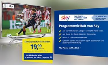 Zu 1&1 Digital-TV zubuchbar: Premium-TV von Sky