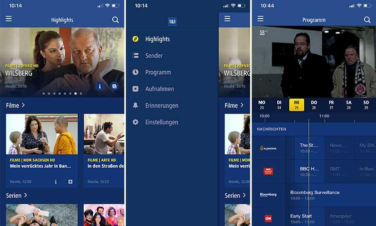 1&1 Digital-TV App auf iPhone