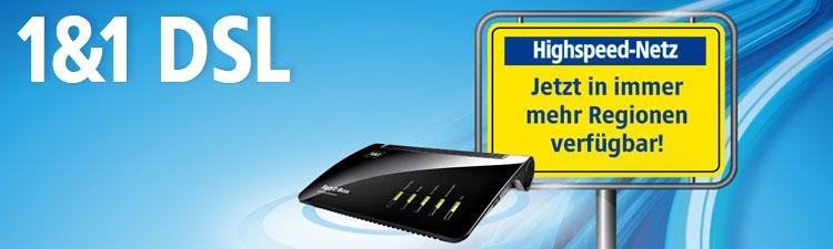 1&1 DSL: 100 Mbit Verfügbarkeit