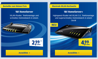 Screenshot: Auswahl 1&1 HomeServer
