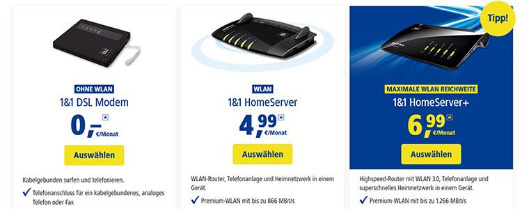1&1 Router auswählen