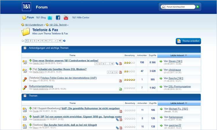 Screenshot: 1&1 Kundenforum