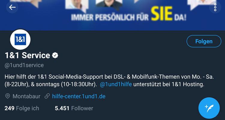 Screenshot: 1&1 Twitter-Profil