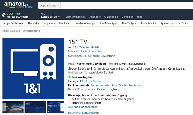 1&1 TV App bei Amazon