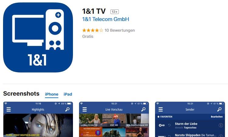 1&1 TV App für iPhone + iPad im App Store von Apple