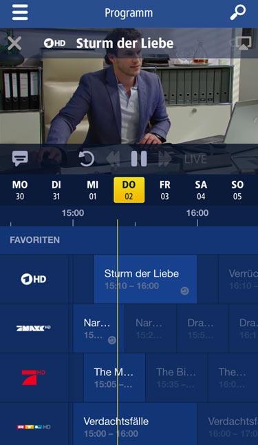 1&1 TV App: Programm-Übersicht auf dem iPhone