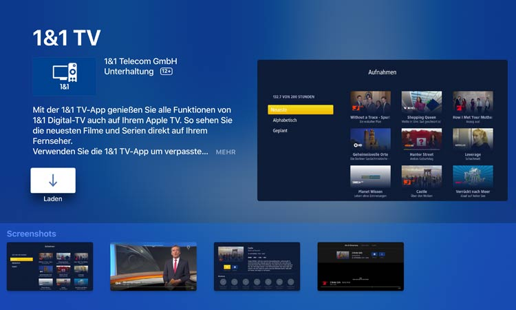1&1 TV App im Apple TV App Store