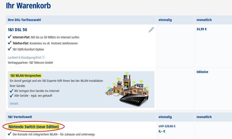 Beispiel: Samsung Galaxy A50 für 9,99 € im Warenkorb