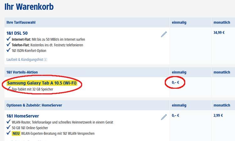 Beispiel: Samsung Galaxy Tab für 0,- € im Warenkorb
