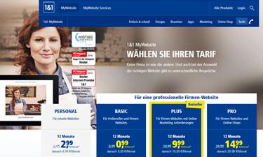 Screenshot: Online-Shop 1&1 MyWebsite