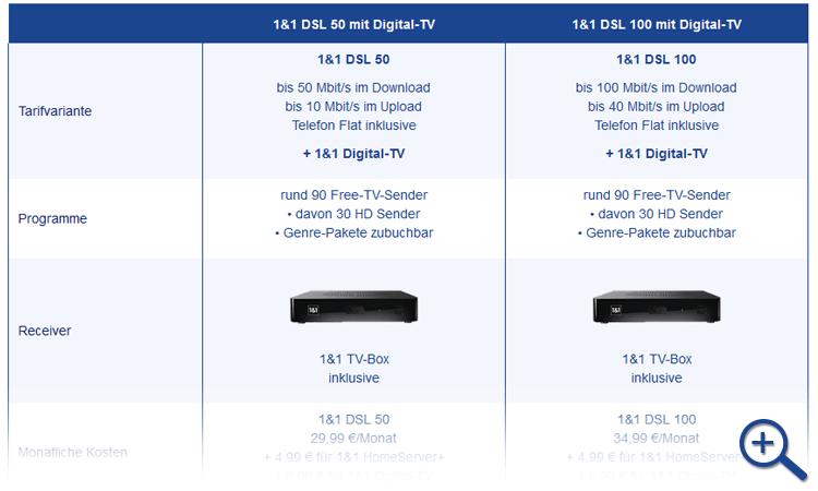 Vorschau Tabellen 1&1 DSL Tarife mit Digital TV