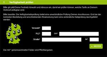 Verfügbarkeitscheck auf der Congstar Website