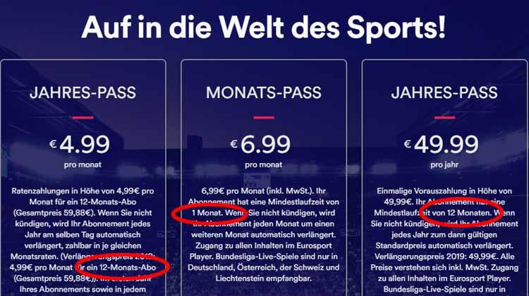 Eurosport Player: als Monats- oder Jahrespass