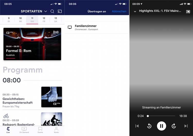 """Eurosport Player App: Sendung aussuchen, Chromecast auswählen und mit dem """"Casten"""" starten"""