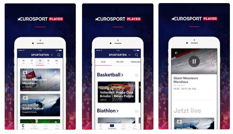Eurosport Player App auf dem iPhone