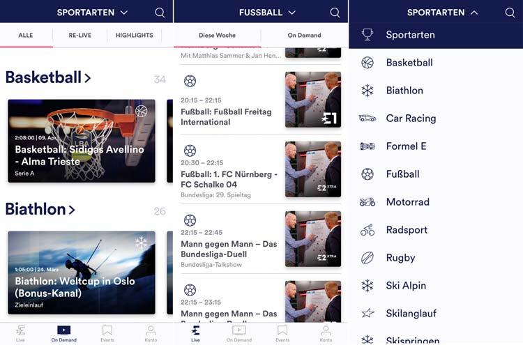 Eurosport Player App Menü