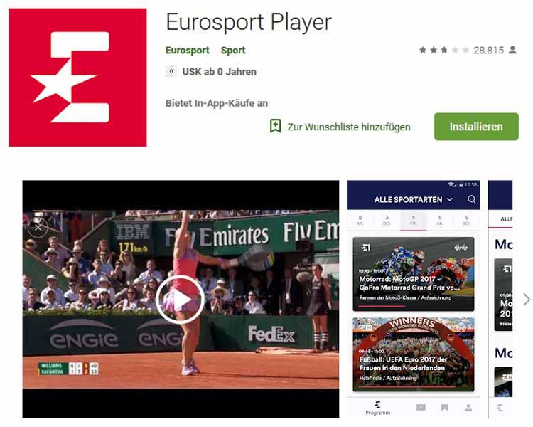 Screenshot: Eurosport Player Download bei Google Play