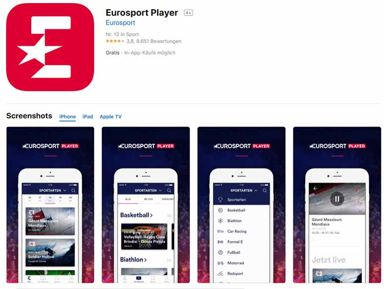 Screenshot: Eurosport Player Download im App Store
