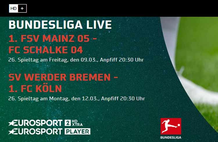 Eurosport Player: die kommenden Bundesliga Live-Spiele