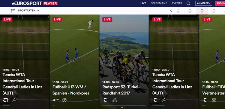 eurosport player auf tv streamen
