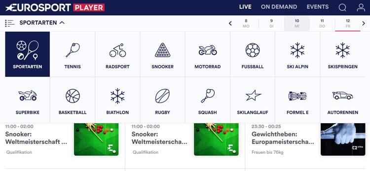 Eurosport Player Übersicht Sportarten