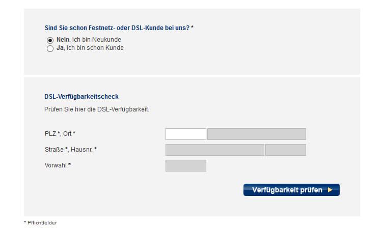 EWE DSL Verfügbarkeits-Prüfung: Eingabemaske mit Adressfeldern