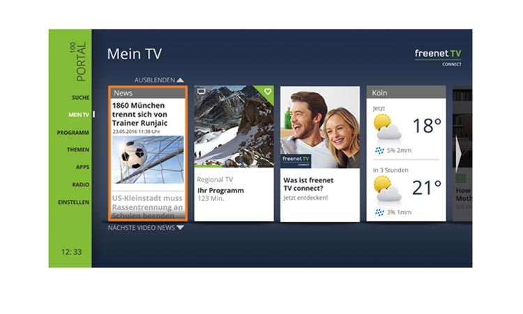Freenet TV Connect Mein TV Menü-Übersicht