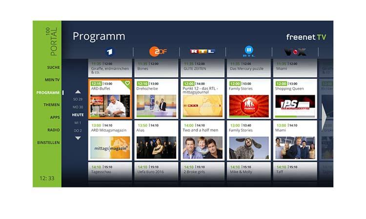 Freenet TV Connect Programmübersicht