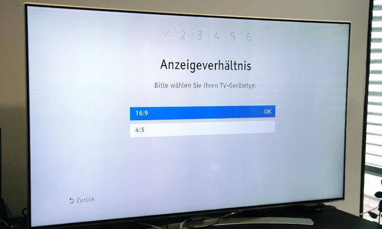Einrichtung Freenet TV Receiver (Schritt 2): Anzeigeverhältnis auswählen