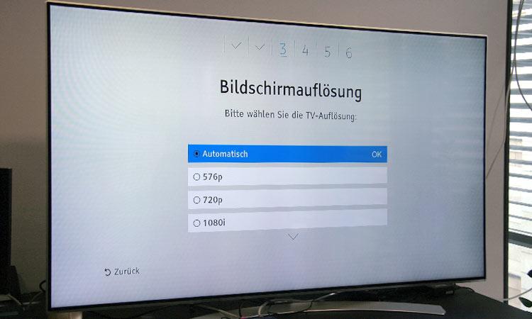 Einrichtung Freenet TV Receiver (Schritt 3): Bildschirmauflösung festlegen