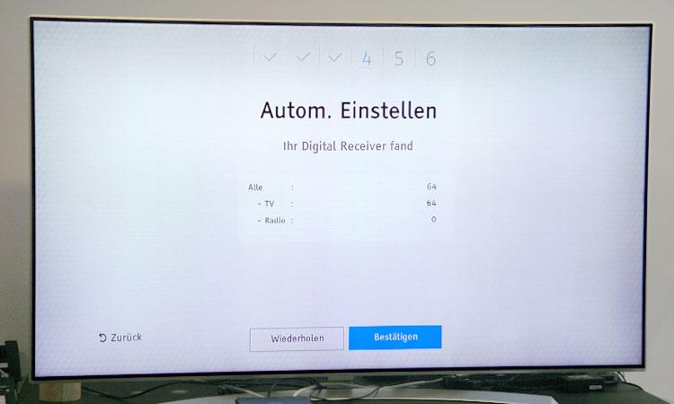 Einrichtung Freenet TV Receiver (Schritt 4b):  Sendersuchlauf abgeschlossen