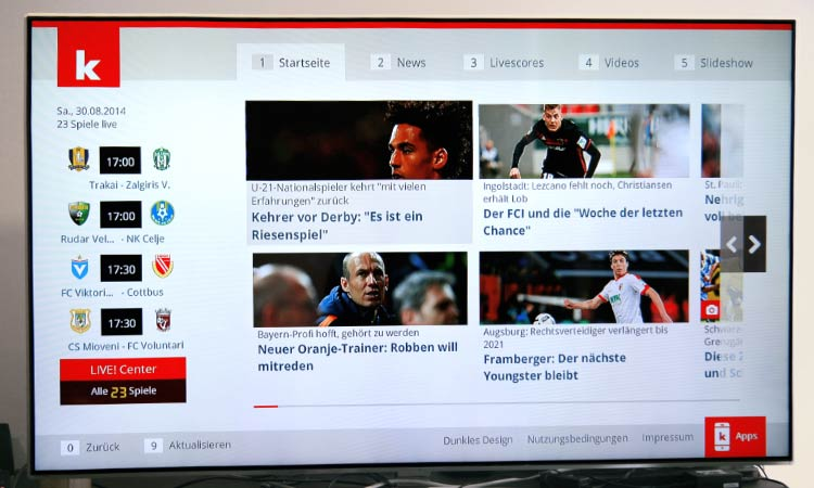Freenet TV Testbericht - Startseite Kicker App