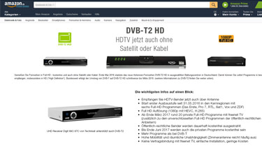 Screenshot DVB-T2 Receiver bei Amazon