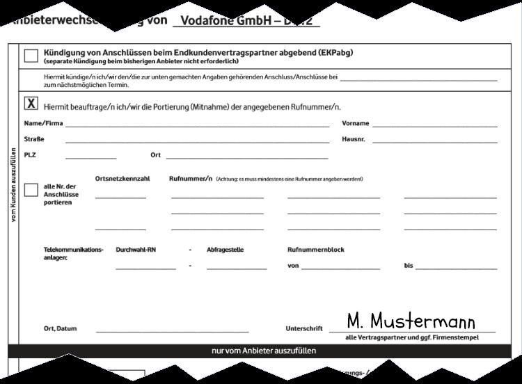 Kabel Deutschland Anbieterwechsel - Portierungsauftrag