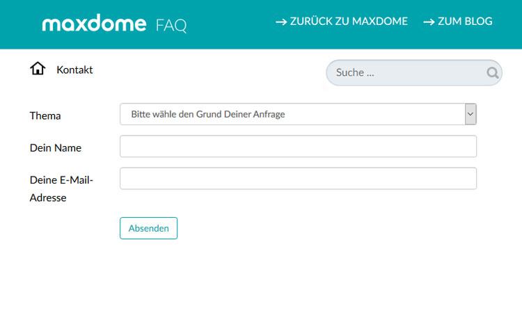 Maxdome Kontaktformular