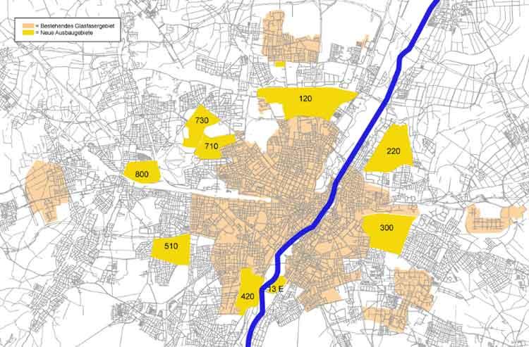 Beispiel: M-net Glasfaser Ausbaugebiet in München