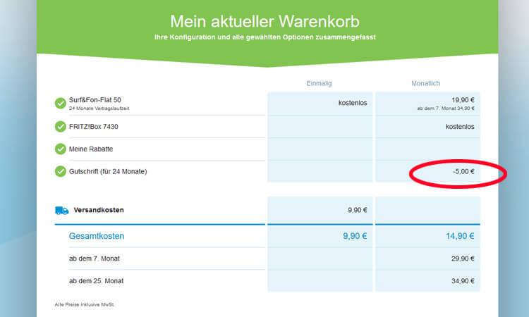 M-net mit Studten-Vorteil Warenkorb