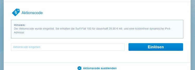 M-net Surf-Flat Gamer: Aktionscode Bestätigung