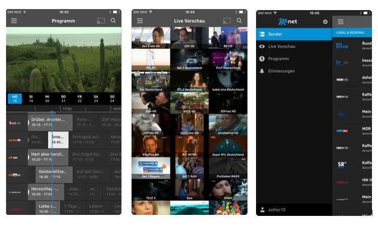 Screenshots: M-net TV Plus App für das iPhone