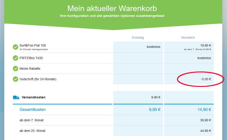 M-net SWM-Vorteil: Warenkorb