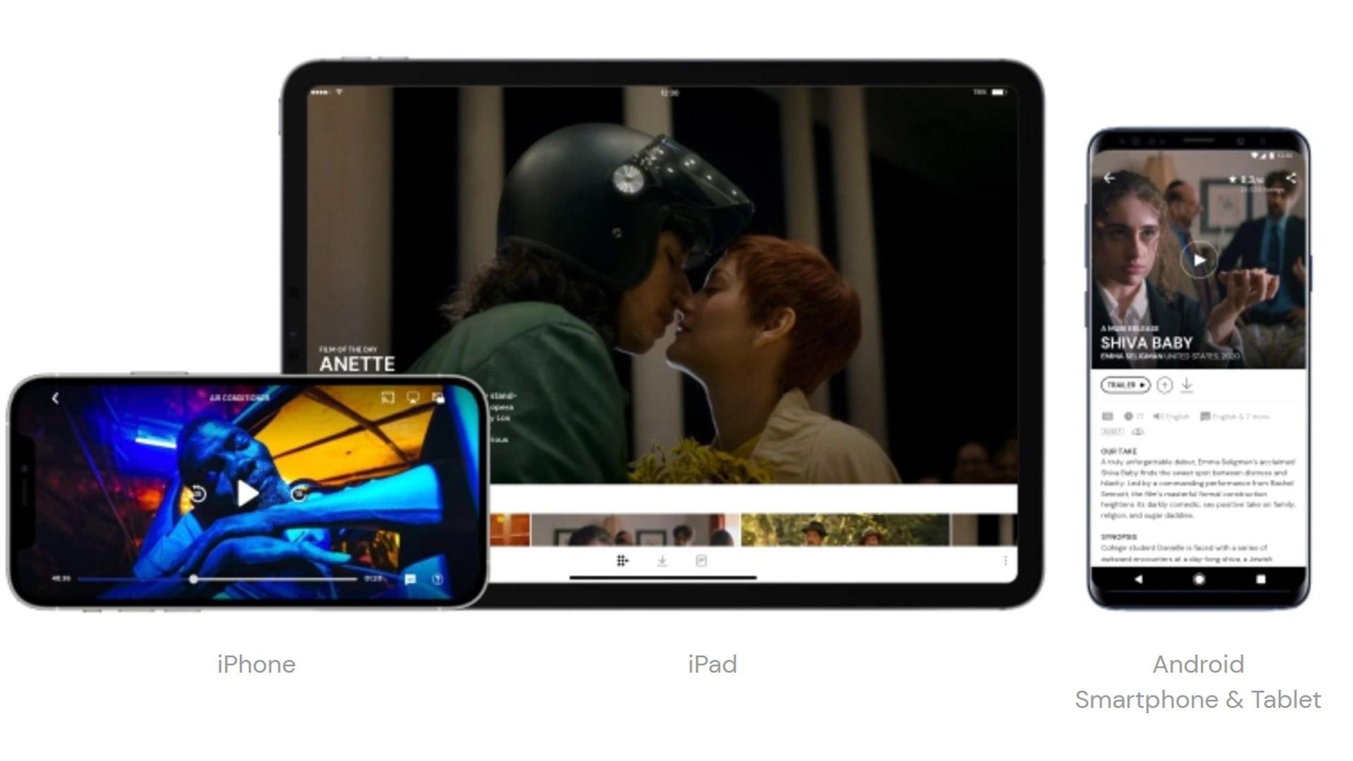Mubi auf Tablet und Smartphone